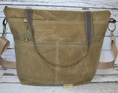 Diaper Bag Waxed Canvas waterproof Tote / cross body VEGAN Nappy Sack made in the USA by Darby Mack  / Tumbleweed Tan vegan, in stock