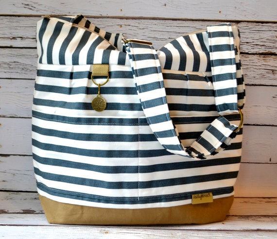 diaper bag in stockholm stripe 39 lilou 39 in washable by darbymack. Black Bedroom Furniture Sets. Home Design Ideas