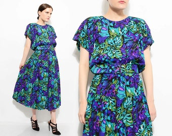 Vintage 80s Vibrant Abstract Floral Print Dress Slouchy Cap Sleeve Full Skirt 1980s High Waist Belted Midi Dress Medium Large M L