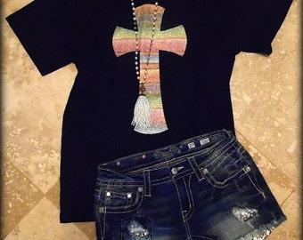 Black Serape Cross T-Shirt