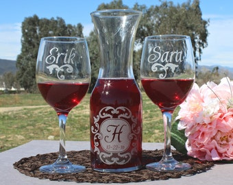 Wedding Ceremony, Wine Unity Set, Unity Ceremony, Unity Candle Alternative (2) Wine Glasses (1) Carafe, Custom Wedding Unity, Winery Wedding