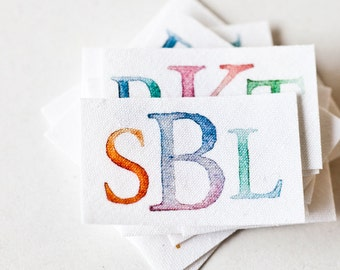 Monogram Labels - Personalized Fabric Labels with Watercolor Initials
