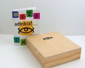 Boxed Set of Adinkra West African Stamps with Booklet, Wood Mounted Rubber Stamps