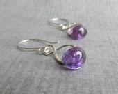 Purple Dangle Earrings, Infinity Purple Earrings, Purple Lampwork Earrings, Wire Dangles, Purple Earrings, Sterling Silver Earrings