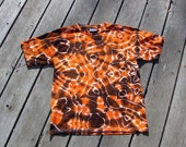 Mandala Tie Dye Tee - Orange & Black (Extra Large) Youth