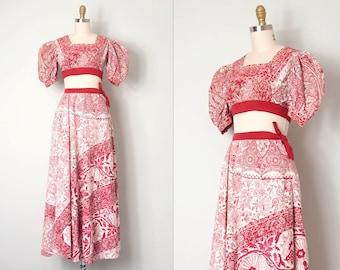 vintage 1940s dress set / red batik cotton 40s crop top and maxi skirt / Breathtaking Batik