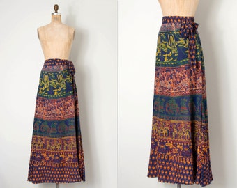 vintage 1970s skirt / 70s indian cotton wrap maxi skirt / Indian Summer #2