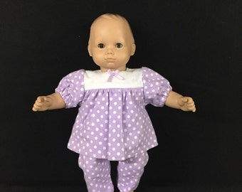 Doll Clothes for Bitty Baby Bitty Twin Girl Doll or Some Other 15 Inch Dolls Lavender with White Polka Dot Pajamas