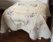 Shabby Cottage Yellow Foot Stool Ottoman Vintage Linens Embroidery handwork