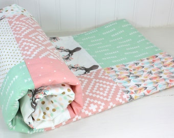 Baby Girl Blanket Woodland Girl Baby Blanket Woodland Crib Bedding Blush Pink Coral Pink Mint Green Gold Baby Quilt Feather Boho Bucks