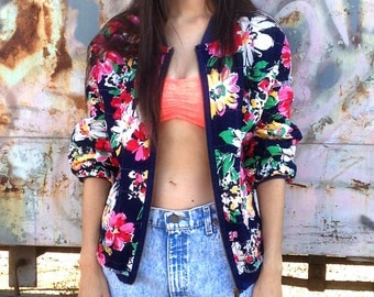 Reversible Quilted Bomber Jacket, Colorful Patchwork & Floral Calico Cotton Jacket, size Medium - Large