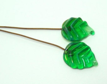 Lampwork glass headpins  -  Emerald Leaf pair  -  green leaves, glass leaf head pin, copper headpin
