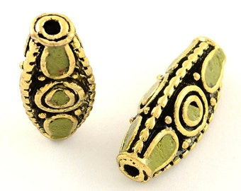 Handmade Indonesian Beads - Olive Green/Antique Gold
