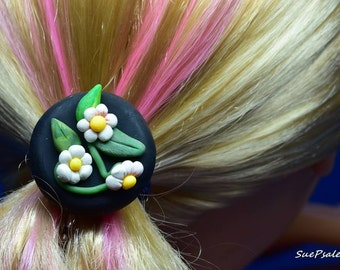 Bobby Pin, Floral Bobby Pin, Flower Bobby Pin, White blossoms, black background, hand sculpted, polymer clay, floral hair accessory