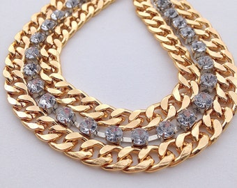 Gold Link and Rhinestone Chain Bracelet - Weddings | Bridal | Bridesmaids Gifts