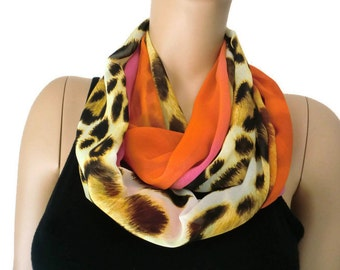 Chiffon infinity scarf,sunset safari,Leopard/animal print ,sunset oranges and pinks chiffon infinity Scarf/ cowl Instant gratification