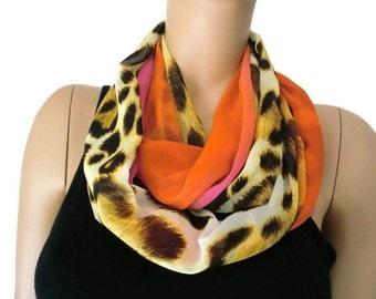 Chiffon infinity scarf,sunset safari,Leopard/animal print ,sunset oranges and pinks chiffon infinity Scarf/ cowl Instant gratification