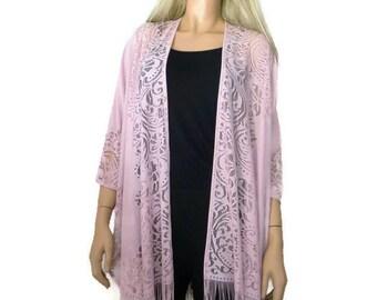Pale Pink Kimono-Dusty pink Lace Kimono -Pale pink kimono jacket-kimono cardigan-Oversize kimono