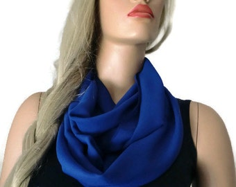 Solid cobalt-Chiffon infinity scarf in royal blue/ cowl- Instant gratification-women summer scarves