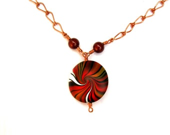 Monarch Swirl Necklace - Handmade Copper Chain - Gift for Her, Customize Length, Polymer Clay Focal, Lentil Focal Bead, Red Orange, White