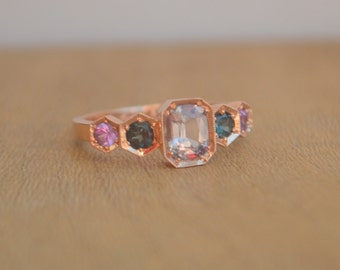 Rose Gold Hexagon Ring, sapphire hexagon ring, color change garnet ring, colored gemstone hexagon ring, gifts for moms
