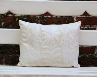 White and beige Folk Art Pillow Sham-Otomi Embroidery Ready to ship.