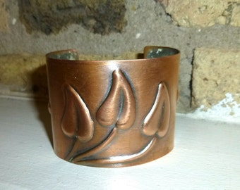 Early Vintage Rebajes Wide Copper Cuff. Modernist Stylized Leaves. Signed Circa 1940s / NYC.