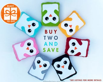 Penguin Plushes - Two Penguin Pillows - Penguin Plush - Stuffed Bird Toy - Gift for Children - Baby Room Decor - Gift Wrapped - Ships Fast!