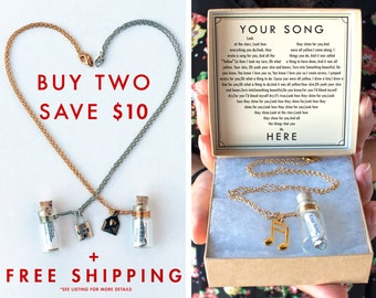 Two Bottle Necklaces and SAVE!  - Cute Valentine's Day Anniversary Gift - Custom Personalized Message - Song - Gift Wrapped FREE SHIPPING