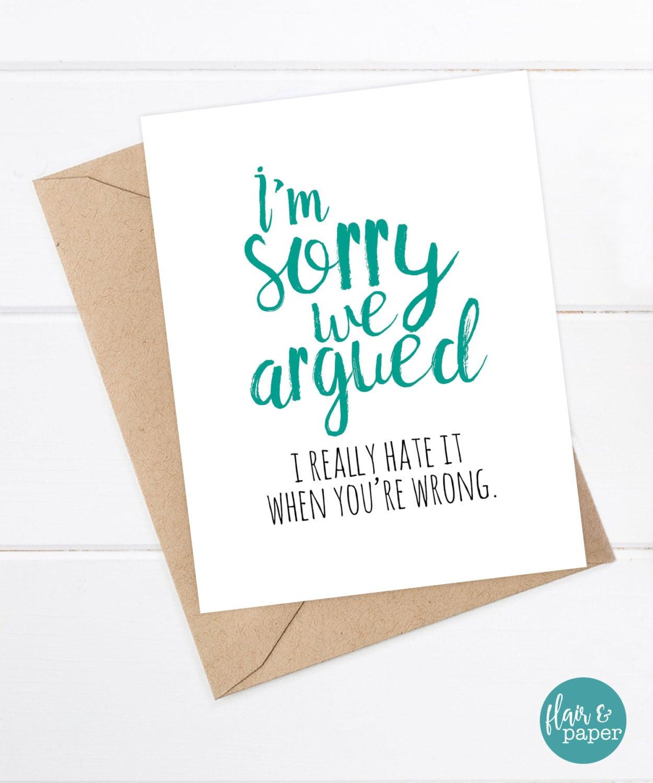 Funny Sorry Card Boyfriend Card Girlfriend Card Funny Card