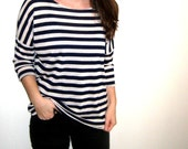 Nautical Navy White Dolmen Top, Loose Box One Size Knit Dolmen Shirt Bat Wings Crow Top Crows Birds Striped Nautical Loose Slouchy Comfy