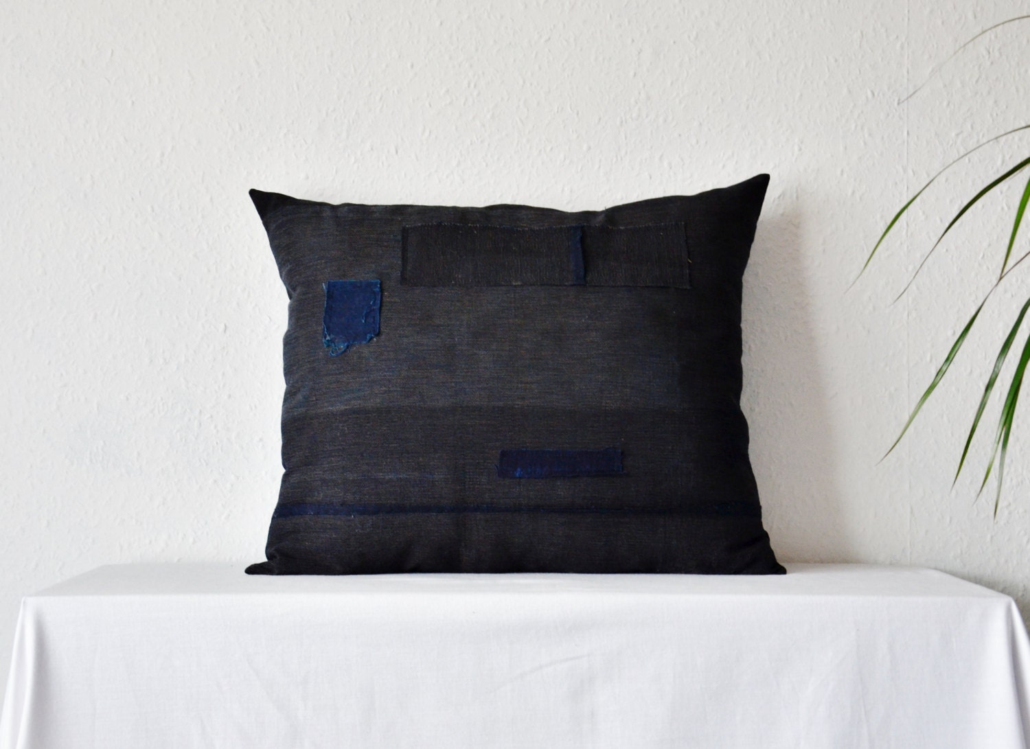 Eco Floor Pillows : Boro cushion large dark blue indigo natural rustic primitive