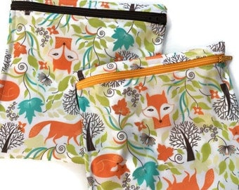 Fanciful Foxes Sandwich Size Bag Washable Reusable Snack Wet Bag