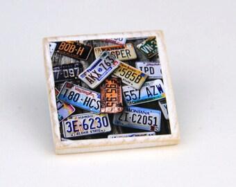 Wooden Magnet, Rustic Decor, License Plates, 2X2 Square, Fridge Magnet