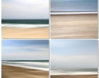 Abstract Seascape, Brown and Blue, Beach Decor, Ocean and Sand, 8X10 mats, Set of 4