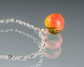 Peach Bracelet, adjustable length with lampwork glass peach bead and lobster clasp. A gift for the Georgia Peach in your life!