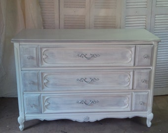 Dresser French Provincial Vintage Chest of Drawers in Shabby French White and Grey Poppy Cottage Painted Furniture