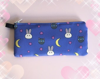 Sailor Moon SuperS Fairy Kei inspired Luna P Zipper Pouch Clutch Pencil Case MADE TO ORDER