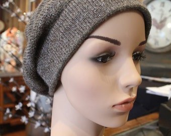 Alpaca Slouch Cap - Beautiful in Brown Tones with Silver Flecks