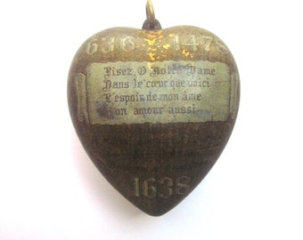 Large Antique Heart Locket Ex Voto Reliquary Box Pendant 1938