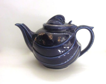 Hall Vintage Navy Tea Pot with Gold Leaves