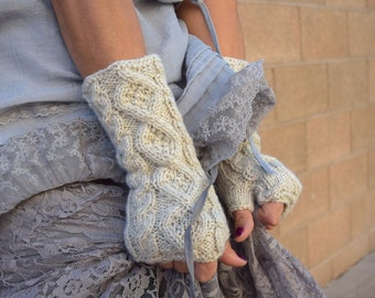 Knit arm warmers oatmeal romantic cable knit fingerless gloves gift for her