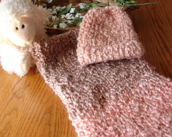 Warm n Fuzzy Cocoon - Knitted Baby Pod with Matching Hat in Coral and Sand