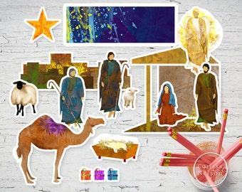 Children's Nativity Printable Artwork - Christmas and Epiphany Craft
