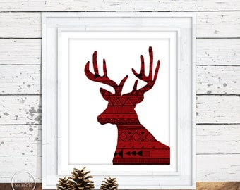 Red Deer Aztec Christmas Wall Art - 8x10 Printable