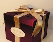 Wedding Card Box Burgundy and Champagne Gift Card Box Money Box Holder-Customize your color