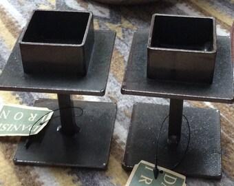 Danish Modern Iron Candleholders
