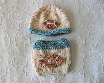 Hand Knitted Baby HAT and  DIAPER COVER, Football Hat and Diaper Cover cotton knitted baby hat Newborn Knitted Baby Hat Knitted Baby Beanie