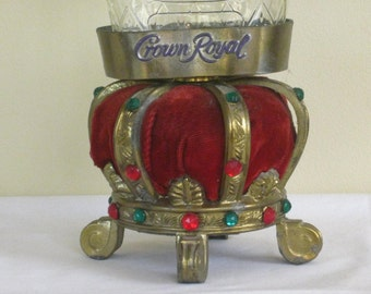 Vintage Crown Royal Display Bottle Holder, Decorative Red Velvet Gold Accent Crown adorned with Faux Jewels, Mid Century Barware