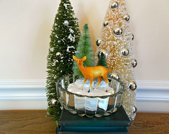 Deer, Reindeer, Christmas Reindeer, Christmas Deer, Diorama, Vintage, Table Top, Christmas Decoration, Bottle Brush Trees, Kitsch, Retro